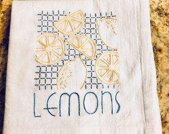 Hand Embroidered Kitchen Dishtowel - Lemons