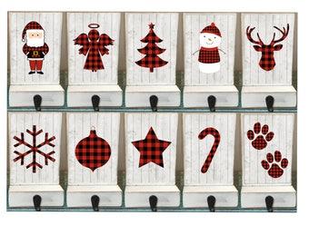 White stocking holders, buffalo plaid, reclaimed wood, family stockings, pet stocking hook, stocking hanger, set of 5, stocking holder