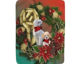 Christmas  Poodle  Sherpa Fleece Blanket
