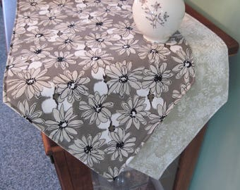 """Taupe Daisy Table Runner  54"""" Reversible Neutral Beige Table Runner Black and Tan Table Runner Contempo Taupe Table Runner Beige Table Decor"""