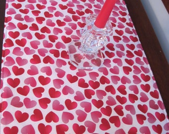 "Valentines Day Heart Table Runner 54"" Reversible Valentines Table Runner Pink Hearts Runner Sweetheart Table Runner Valentines Day Runner"