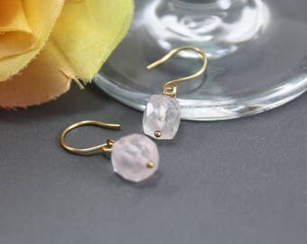 Rose Quartz Earrings in 14k Gold Fill - Pink Dainty Earrings - Rose Quartz Cube Earrings - AdoniaJewelry