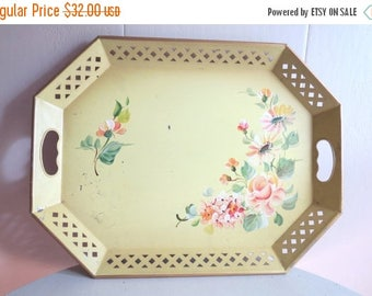 On SALE Vintage NASHCO Shabby Chic Yellow Metal Hand Painted Tray