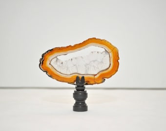 Lamp Finial - Druzy Window Brazilian Agate