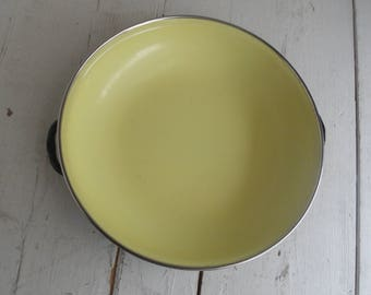 Vintage Enamel Wok Yellow Plate Yugoslavia