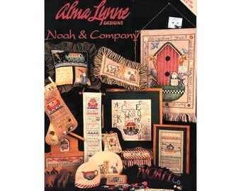 1996 Noah & Company Cross Stitch Booklet, Noah's Ark Cross Stitch, Alma Lynne Craft Book, Patterns, Craft Books by NewYorkTreasures on Etsy