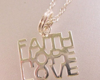"""SHIPS 6/26 w/FREE Jewelry Faith Hope Love Sterling Silver Pendant & Necklace 18"""" Vintage Jewelry Jewellery"""