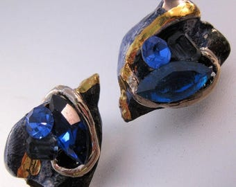 XMAS in JULY SALE Vintage Blue Rhinestone & Ceramic Clip On Earrings Gold Hand Made Costume Jewelry Jewellery