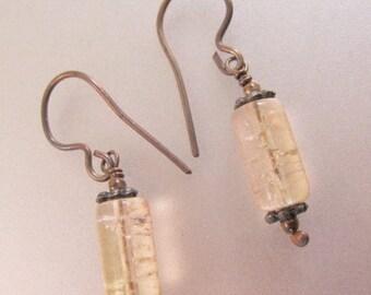 XMAS in JULY SALE Rock Crystal Sterling Silver Drop Dangle Earrings Pierced Vintage Jewelry Jewellery