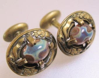 SALE & FREE SHIPPING Antique Victorian Era 1800s Dragon's Egg Dragon's Breath Cufflinks Cuff Links Antique Jewelry Jewellery