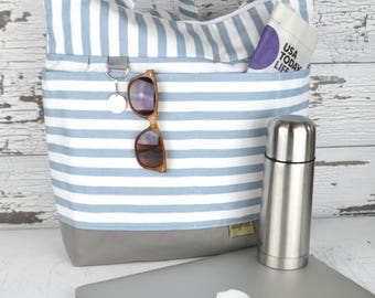 Lilou tote in 3 sizes of soft blue stripe with Grey waterproof base /  Washable and durable! By Darby Mack & Made in the USA