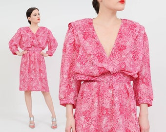 Vintage 80s Pink Floral Blouson Dress | Plunging Neckline Secretary Dress | Draped Balloon Sleeve Belted Dress | Magenta White | Medium M