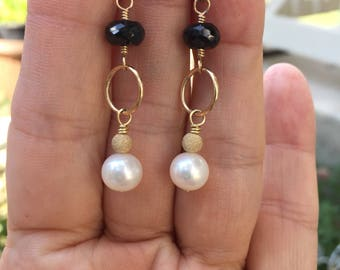 Worn On Jane The Virgin, Pearl Earrings, Black Spinel Earrings, Black And White Earrings, Gold Earrings, Natures Splendour, As Seen On Tv,