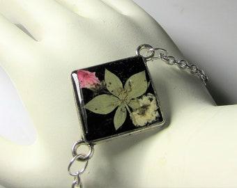 Real Flower Bracelet or Anklet, Adjustable, Pressed Flower Bracelet,Resin,  Silver Plated Brass, (3106)