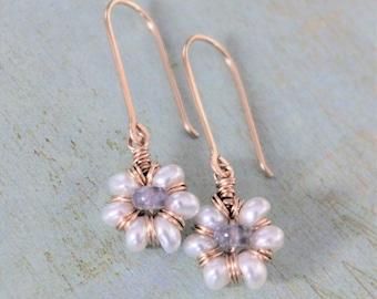 Humble Daisy - Pearl, Tanzanite Gold Earrings