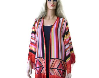 Southwestern fringe Kimono with wide sleeves-black, red,orange,yellow,pink-oversize-plus size