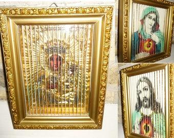Religious Shadow Box Art. Framed 3 Panel Illusion: Black Madonna, Sacred Heart Jesus & Mary. Our Lady Czestochowa Poland 1950s. Lenticular