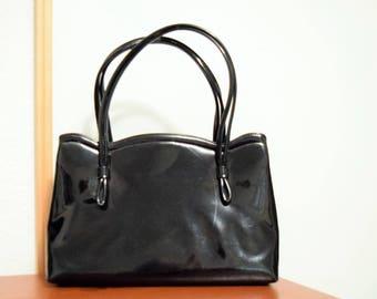 Vintage Crown Lewis Black Patent Leather Ladies Evening Handbag Clasp Closure
