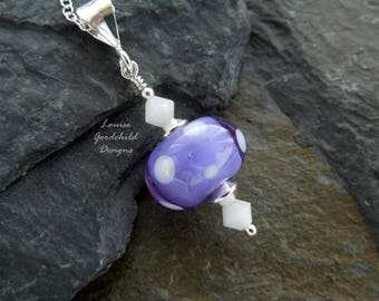 Violet Polka dot necklace, violet and white, artisan lampwork, sterling silver necklace, spotty necklace, simple necklace, white polka dots
