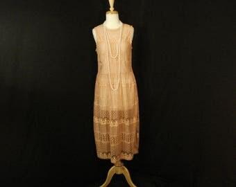 Coral Orange Lace Dress Feminine Chic Boho Gypsy Vintage Dress M