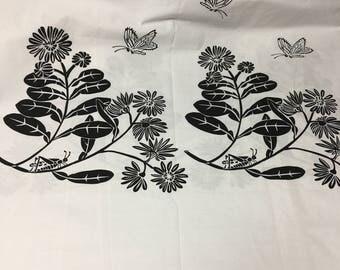 "VTG 60s Harwood Steiger Screen print Fabric ""Summer"""