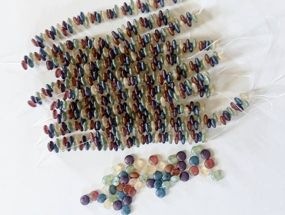 Matte Five Color Frosted Top Drilled Lentil Beads, 6mm Top Drilled Lentil Beads, 50 Pieces Per Strand, Five Colored Matte Frost Finish