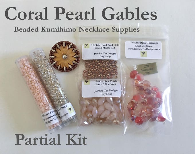 Coral Pearl Gables Fully Beaded Kumihimo Necklace, Beads and Button Only Kit, Partial Kit for Coral Pearl Gables Beaded Kumihimo Necklace