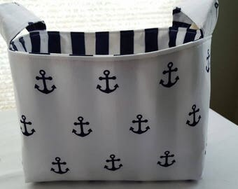 Fabric Organizer Storage Basket Bin Container - Boat Anchors Strips