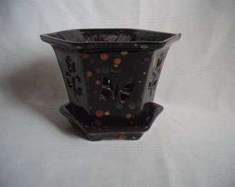 Ceramic Orchid Pot / Planter With Butterflies & Flowers