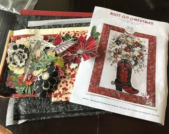MarveLes Full COLLAGE KIT with PATTERN for Boot Cut Blooms Western Red and Black faux Leather Floral Flower Bouquet Pref-Fused and Pre-Cut