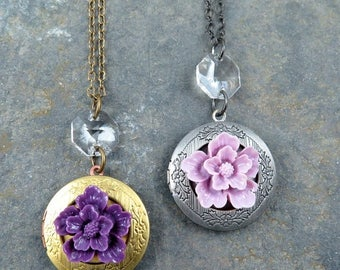 Flower Locket Necklace, Locket Pendant, Vintage Locket, Gold Round Locket, Amethyst Flower, Wedding Gift