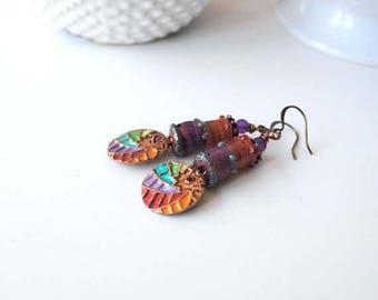 SALE Rainbow Earrings, Starburst Earrings, Painted Copper Earrings, Colorful Lampwork Earrings, Unique Artisan Earrings, Boho Chic Earrings,