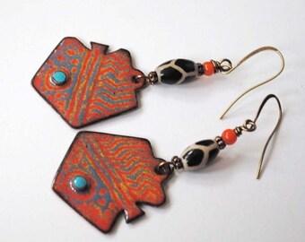 SALE Abstract Enamel Earrings, Orange Earrings, Modern Ethnic Earrings, Artisan Enamel Earrings, Unique Spotted Earrings, Boho Chic Jewelry