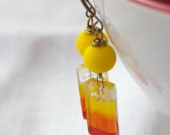 SALE Sunset Earrings, Citrus Yellow Earrings, Fused Glass Earrings, Lampwork Glass Earrings, Striped Earrings, Colorful Earrings