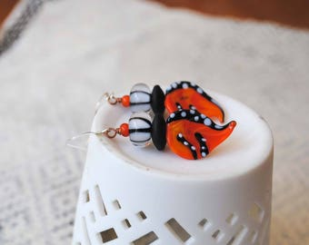 Halloween Earrings, Leaf Earrings, Lampwork Glass Bead Earrings, Orange Leaves, Striped Earrings, Whimsical Earrings, Black White Earrings