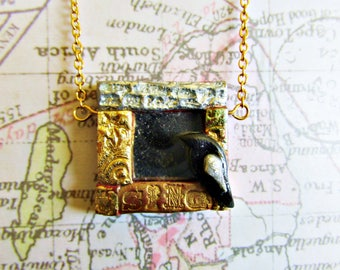 Blackbird's Song Polymer Clay Mirror Necklace