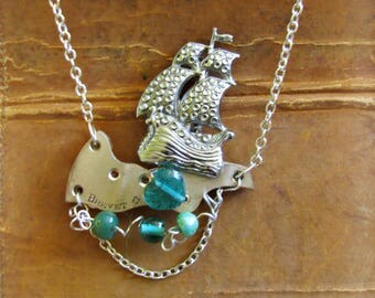 Steampunk Repurposed Vintage Necklace - The High Seas