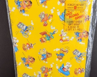 SALE Vintage The Get Along Gang Gift Wrap Wrapping Paper American Greetings