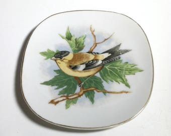Vintage Finch Plate / Vintage Decorative Porcelain Yellow Bird Plate / Vintage Decorative Plate with Yellow Bird