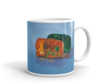 Gummy Snuggle 11oz Mug, gummy bears, kitsch, romance, humor, funny, unusual, sweet, candy, unique, cuddle, coffee, relationship, cute, fun
