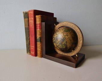 Vintage globe bookend Wood world book end