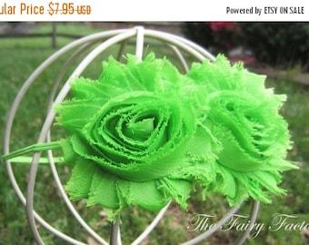 Lime Green Flower Headband, Lime Green Chiffon Rosettes Duo Stretchy Lime Green Headband, Shabby Chic, Baby Toddler Child Girls Headband