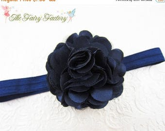 Navy Blue Flower Headband - Navy Blue Satin and Tulle Flower Navy Blue Headband or Hair Clip - Infant Toddler Child Girls Headband