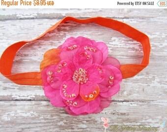 Hot Pink and Orange Flower Headband, Layered Flower with Sequins Orange Stretchy Headband or Hair Clip, Newborn Baby Child Girls Headband