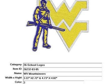 Embroidery Machine File  26232-03-05 WV Mountaineers