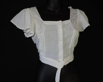 vintage gauzy india blouse 1970s lacy flutter sleeve hippie cropped top small