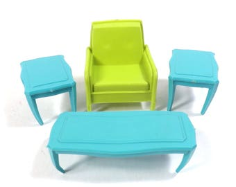 MPC Living Room Set Dollhouse Furniture Vintage 1960s Plastic Chair - End Tables - Coffee Table Doll House Furniture