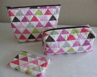 Quilted Triangle Pouch Set