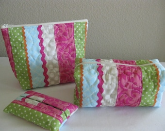 Pink and Green Quilted Pouch Set
