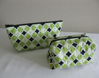 Lime Green Quilted Pouch Set